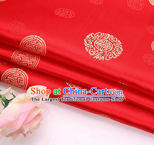 Asian Chinese Traditional Round Pattern Red Brocade Fabric Tang Suit Silk Fabric Material