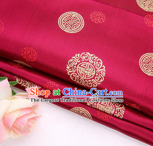 Asian Chinese Traditional Round Pattern Wine Red Brocade Fabric Tang Suit Silk Material