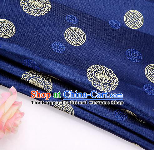 Asian Chinese Traditional Round Pattern Royalblue Brocade Fabric Tang Suit Silk Material