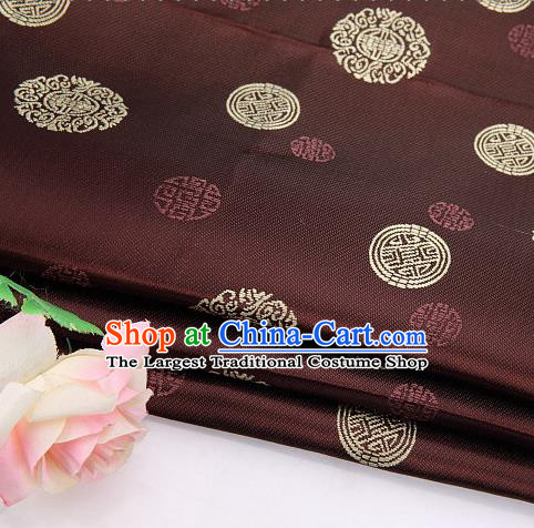 Asian Chinese Traditional Round Pattern Brown Brocade Fabric Tang Suit Silk Material