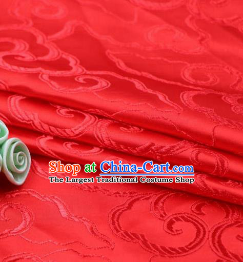 Asian Chinese Traditional Royal Auspicious Clouds Pattern Red Brocade Fabric Tang Suit Silk Fabric Material