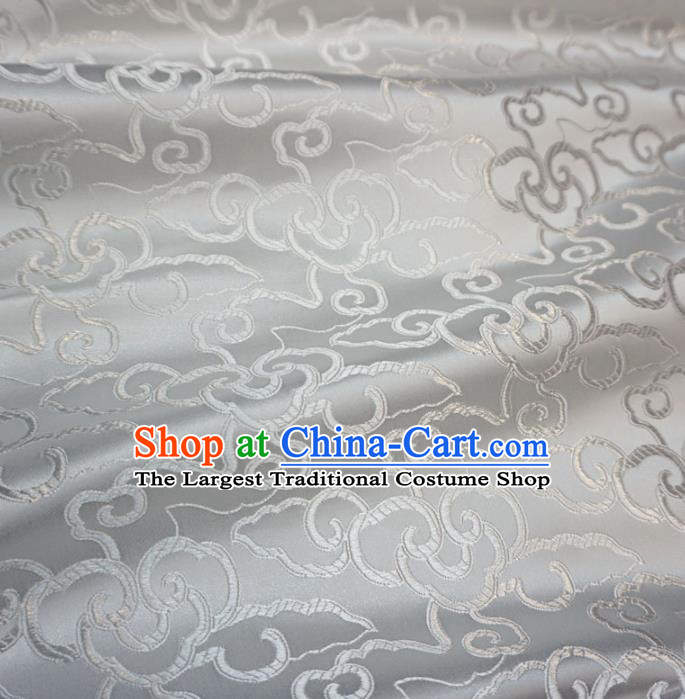 Asian Chinese Traditional Brocade Fabric Clouds Pattern White Satin Tang Suit Silk Material