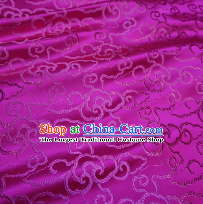 Asian Chinese Traditional Brocade Fabric Clouds Pattern Rosy Satin Tang Suit Silk Material