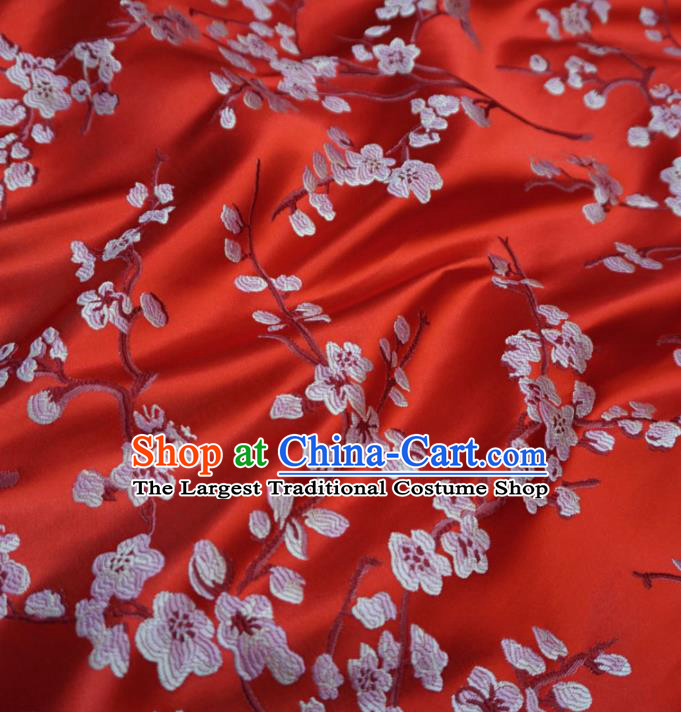 Asian Chinese Traditional Brocade Fabric Embroidered Plum Blossom Pattern Red Satin Tang Suit Silk Material