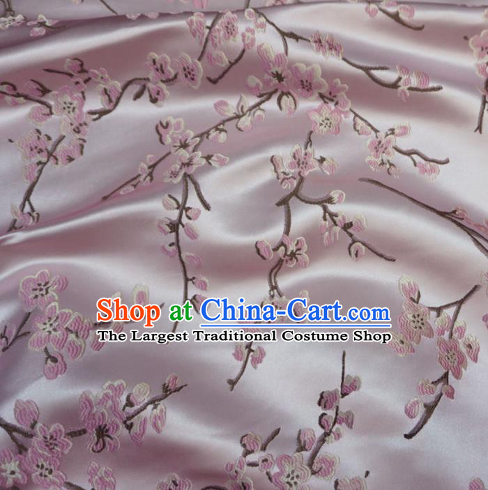 Asian Chinese Traditional Brocade Fabric Embroidered Plum Blossom Pattern Pink Satin Tang Suit Silk Material