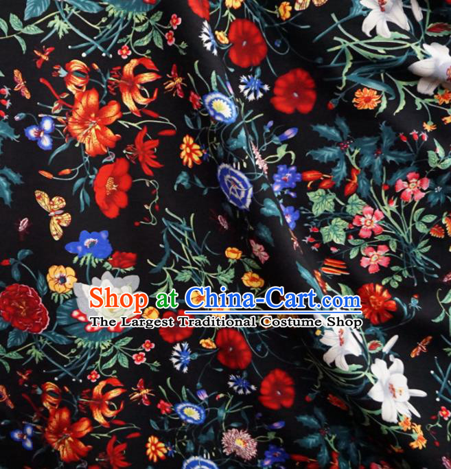 Asian Chinese Traditional Fabric Flowers Pattern Tang Suit Black Cotton Material
