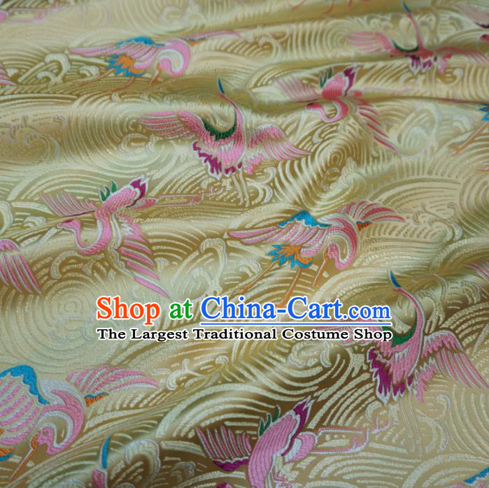Asian Chinese Traditional Yellow Brocade Fabric Cranes Pattern Tang Suit Silk Material