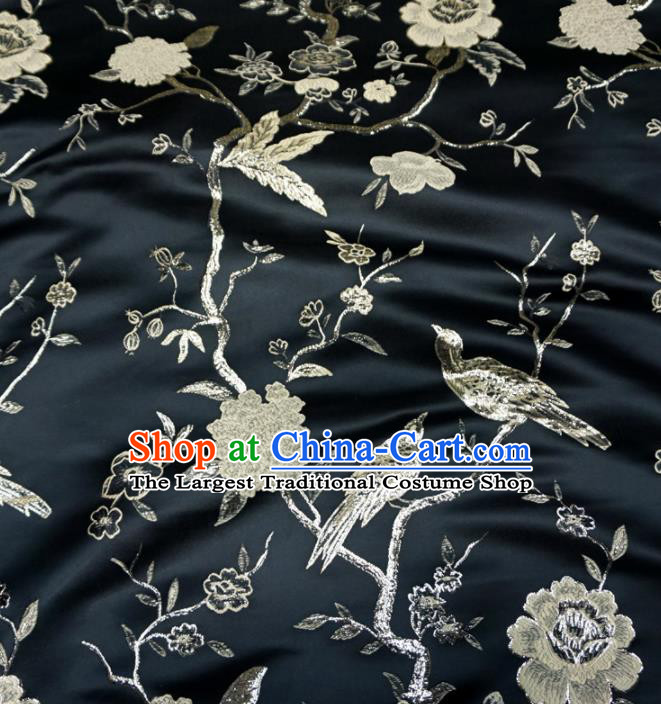 Asian Chinese Traditional Black Brocade Fabric Flowers Birds Pattern Tang Suit Silk Material