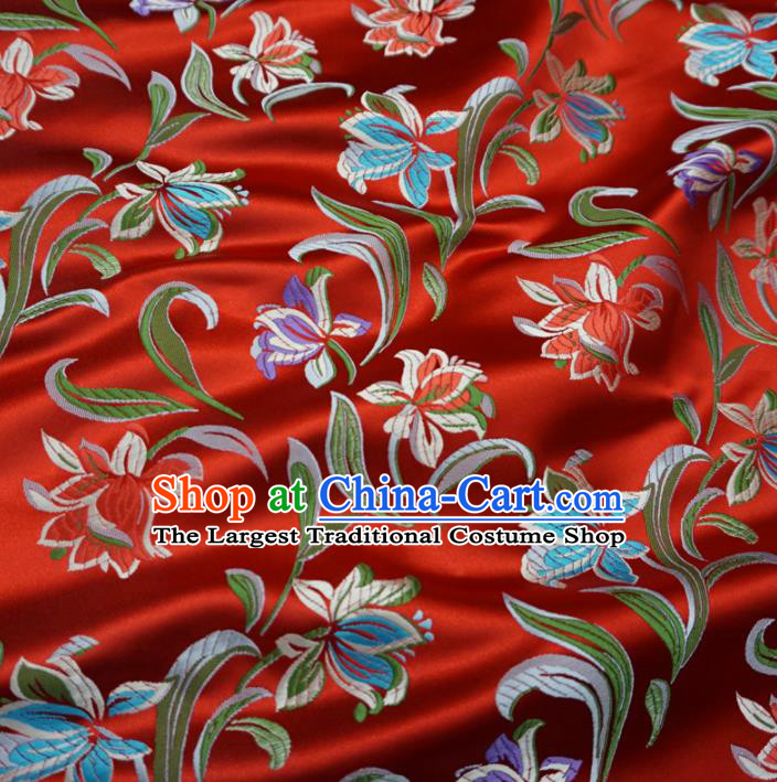 Asian Chinese Traditional Satin Fabric Classical Flowers Pattern Red Brocade Tang Suit Silk Material