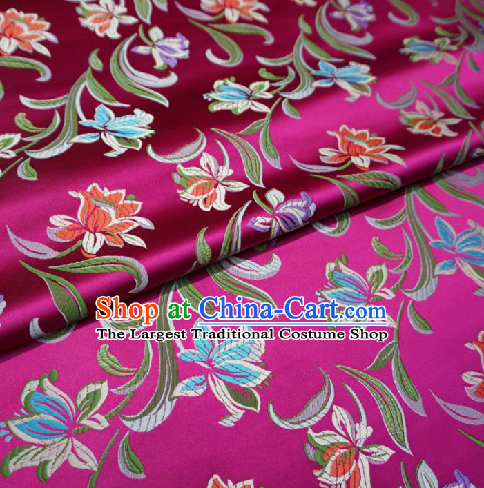Asian Chinese Traditional Satin Fabric Classical Flowers Pattern Rosy Brocade Tang Suit Silk Material