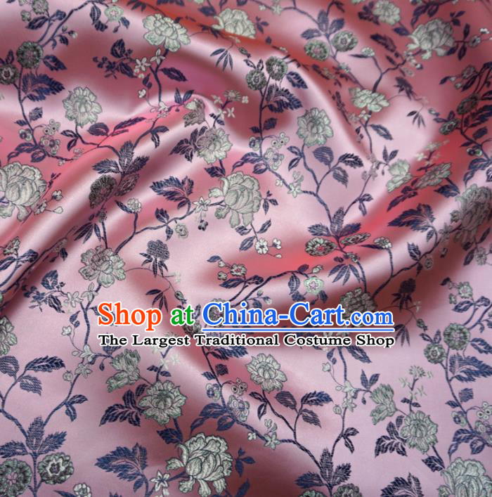 Asian Chinese Traditional Satin Fabric Classical Peony Pattern Pink Brocade Tang Suit Silk Material