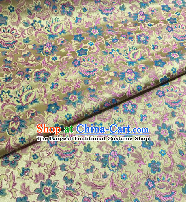Asian Chinese Classical Scroll Pattern Golden Brocade Traditional Cheongsam Satin Fabric Tang Suit Silk Material
