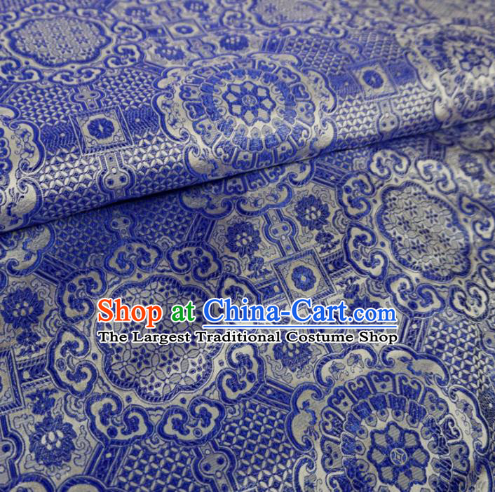 Asian Chinese Classical Design Pattern Blue Brocade Traditional Cheongsam Satin Fabric Tang Suit Silk Material