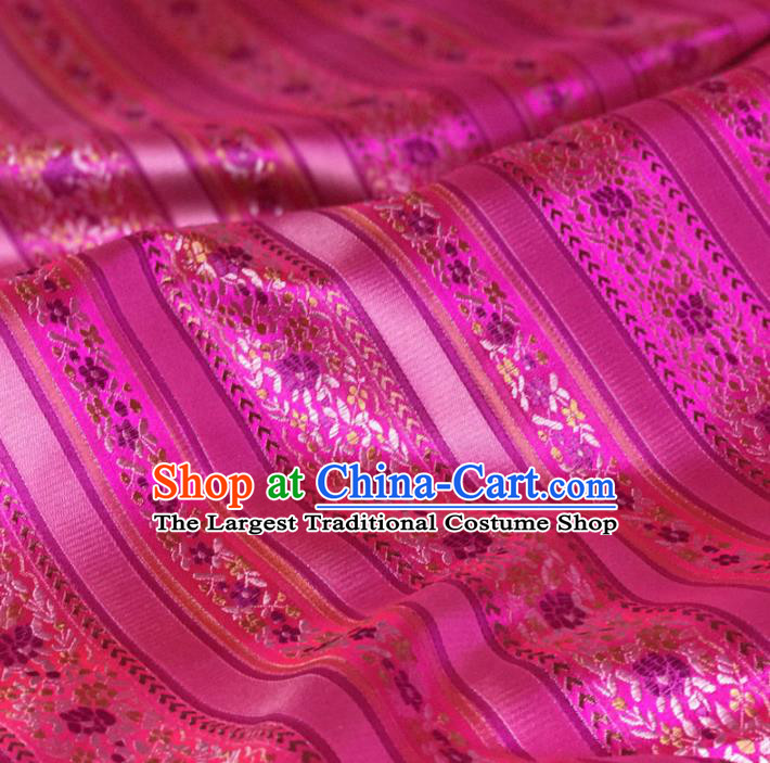 Asian Chinese Classical Design Pattern Rosy Brocade Traditional Cheongsam Satin Fabric Tang Suit Silk Material