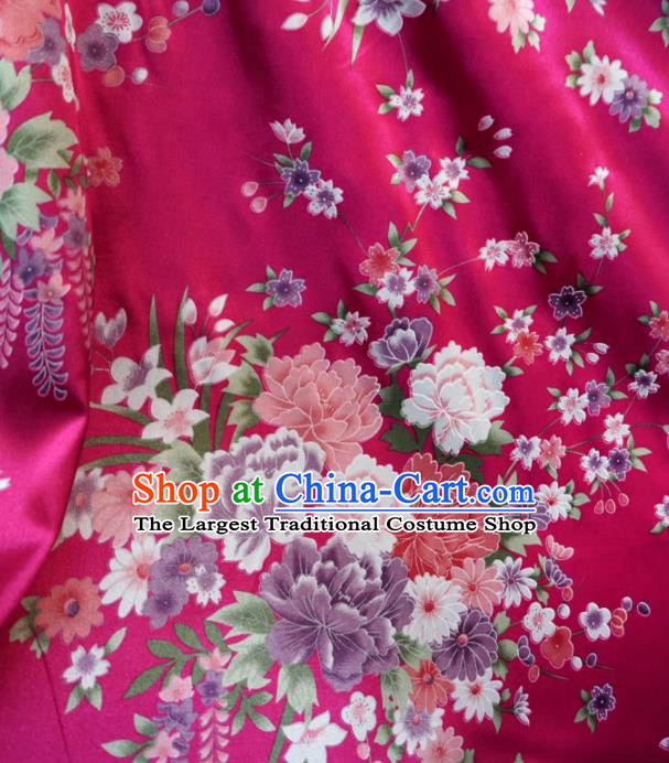 Asian Chinese Classical Peony Design Pattern Rosy Brocade Traditional Cheongsam Satin Fabric Tang Suit Silk Material