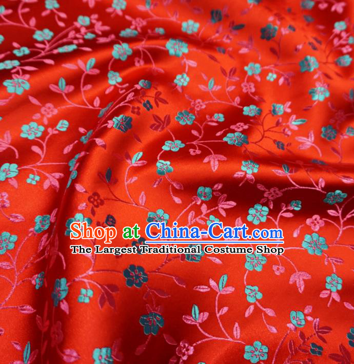 Asian Chinese Traditional Satin Fabric Classical Twine Flowers Pattern Red Brocade Tang Suit Silk Material