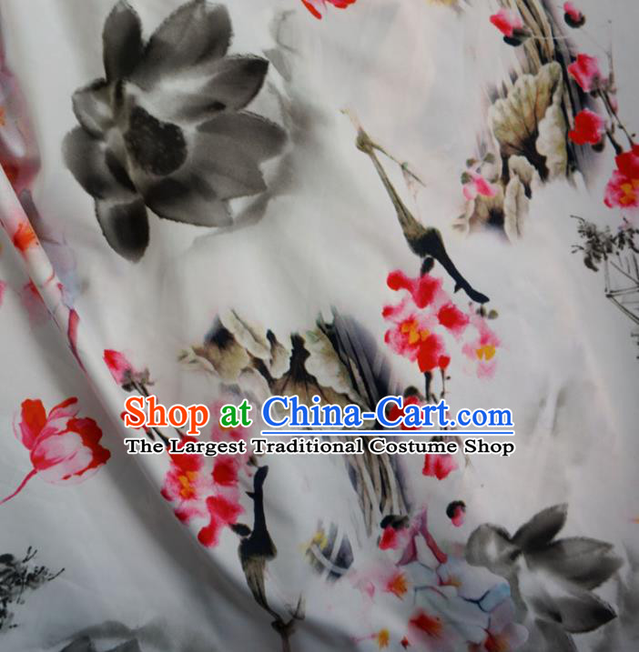 Asian Chinese Ink Painting Lotus Design Pattern Brocade Traditional Cheongsam Satin Fabric Tang Suit Silk Material