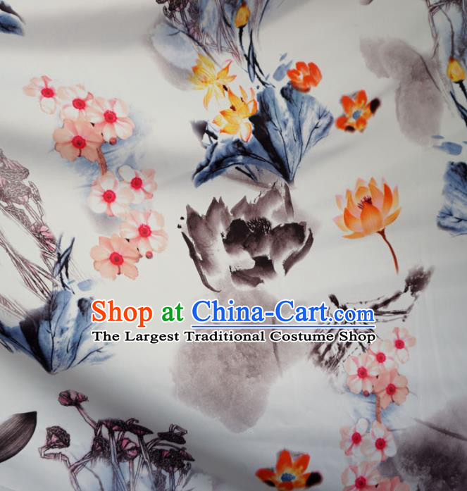 Asian Chinese Printing Lotus Design Pattern Brocade Traditional Cheongsam Satin Fabric Tang Suit Silk Material