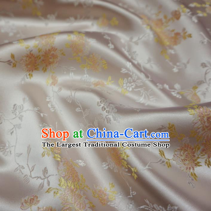 Asian Chinese Traditional Satin Fabric Classical Chrysanthemum Pattern White Brocade Tang Suit Silk Material