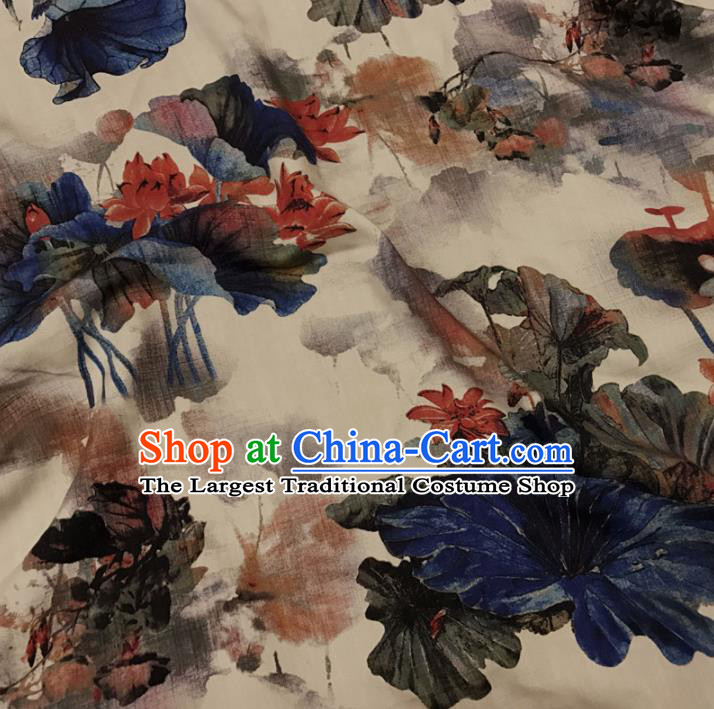 Asian Chinese Printing Lotus Watered Gauze Brocade Traditional Cheongsam Satin Fabric Tang Suit Silk Material