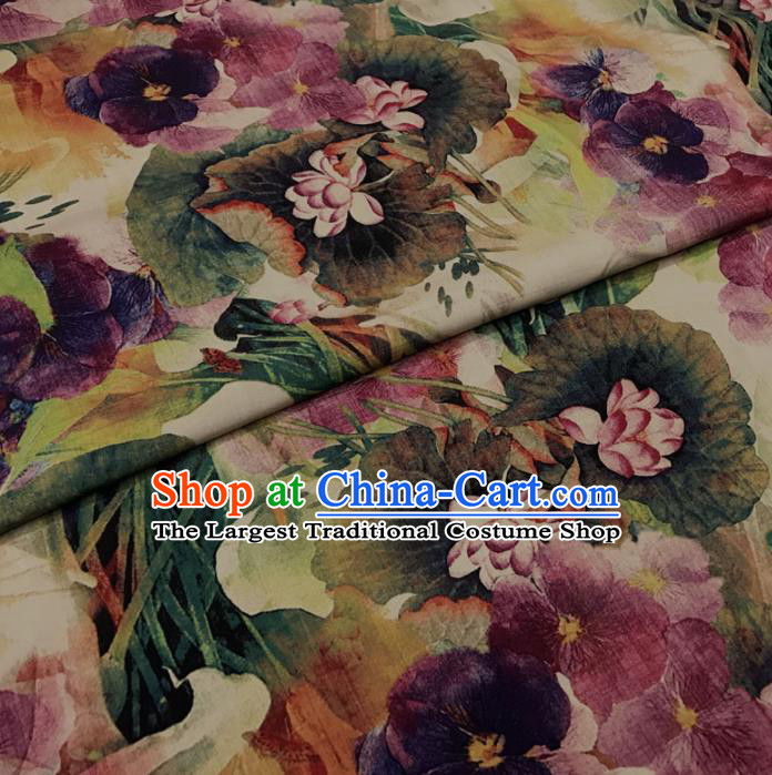 Asian Chinese Printing Colorful Lotus Watered Gauze Brocade Traditional Cheongsam Satin Fabric Tang Suit Silk Material