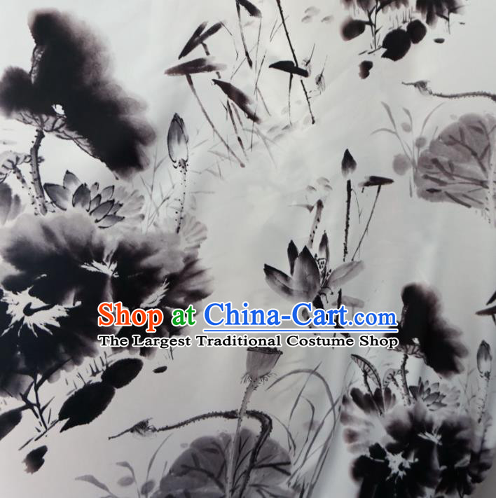 Asian Chinese Ink Painting Lotus White Brocade Traditional Cheongsam Satin Fabric Tang Suit Silk Material