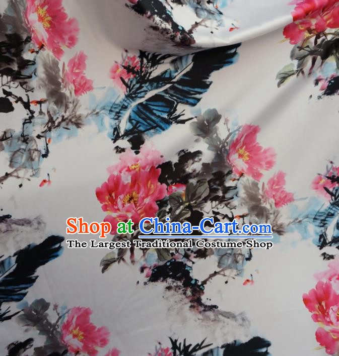 Asian Chinese Ink Painting Peony Brocade Traditional Cheongsam Satin Fabric Tang Suit Silk Material