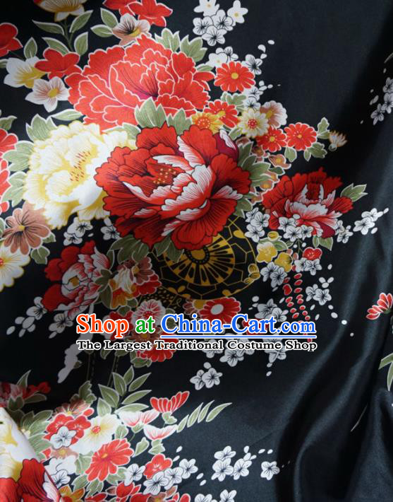 Asian Chinese Printing Peony Black Brocade Traditional Cheongsam Satin Fabric Tang Suit Silk Material