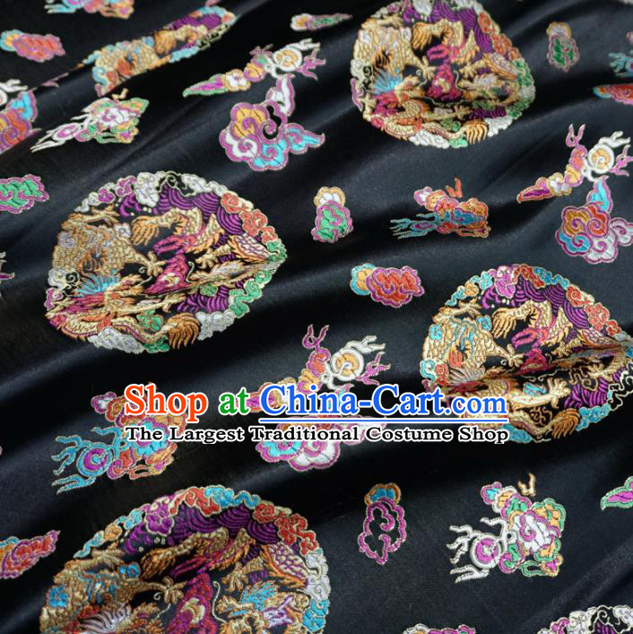 Asian Chinese Classical Dragons Design Pattern Brocade Traditional Cheongsam Satin Fabric Tang Suit Silk Material