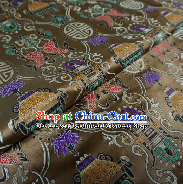 Asian Chinese Classical Fishes Design Pattern Brown Brocade Traditional Cheongsam Satin Fabric Tang Suit Silk Material