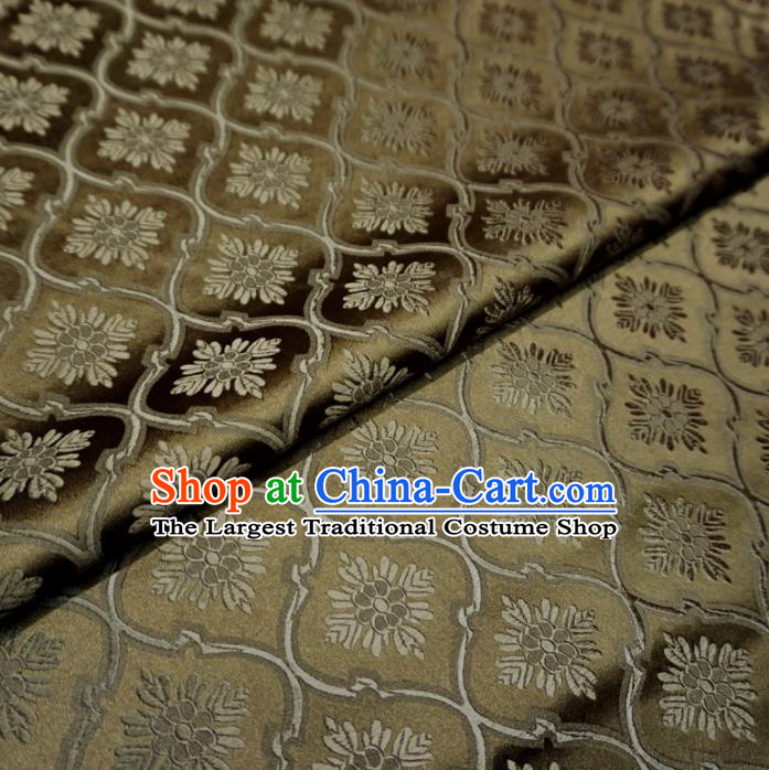 Asian Chinese Traditional Satin Fabric Classical Pattern Bronze Brocade Tang Suit Silk Material