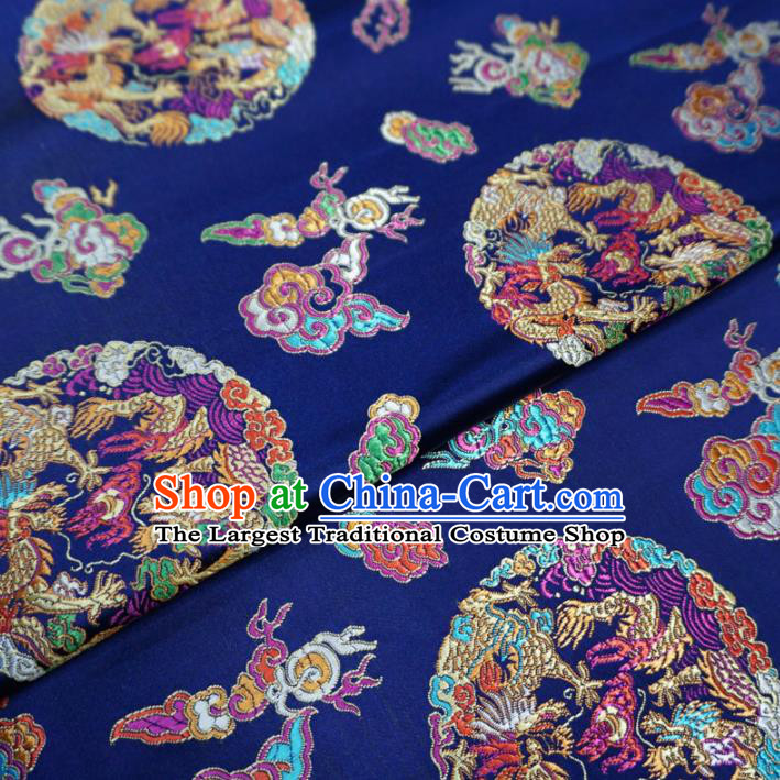 Asian Chinese Classical Dragons Design Pattern Royalblue Brocade Traditional Cheongsam Satin Fabric Tang Suit Silk Material