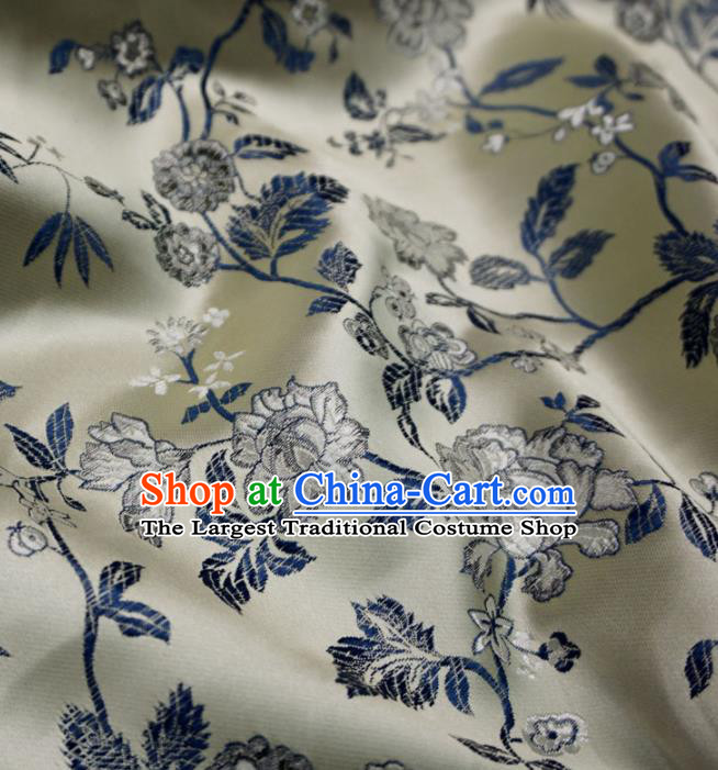 Asian Chinese Classical Peony Design Pattern Champagne Brocade Traditional Cheongsam Satin Fabric Tang Suit Silk Material