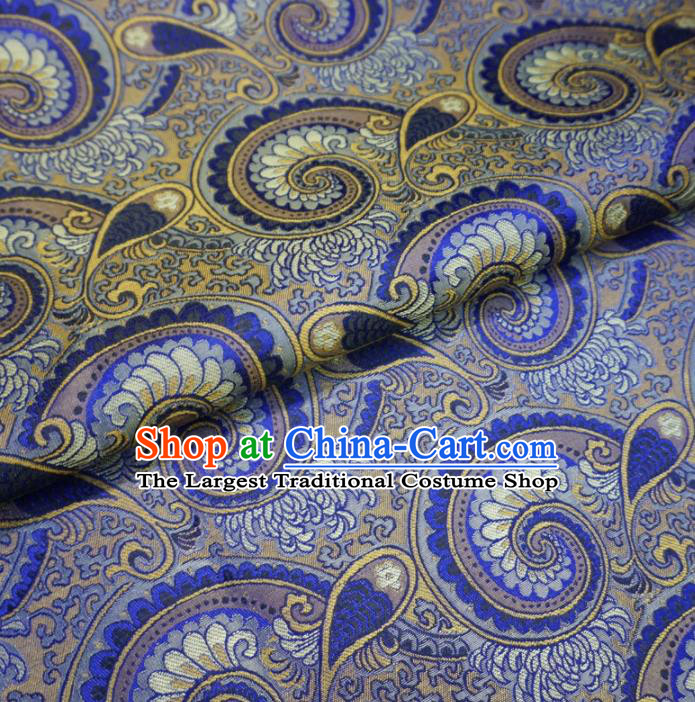 Asian Chinese Classical Conch Design Pattern Royalblue Brocade Traditional Cheongsam Satin Fabric Tang Suit Silk Material