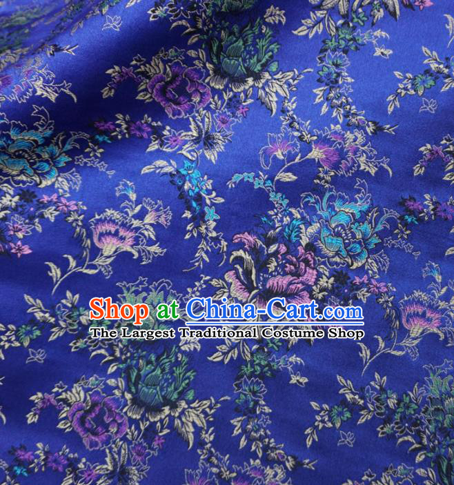 Asian Chinese Classical Peony Design Pattern Royalblue Brocade Traditional Cheongsam Satin Fabric Tang Suit Silk Material