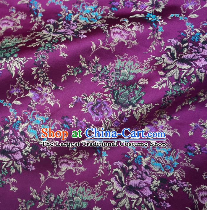 Asian Chinese Classical Peony Design Pattern Purple Brocade Traditional Cheongsam Satin Fabric Tang Suit Silk Material