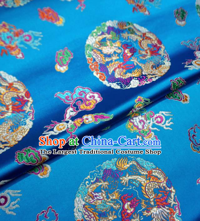 Asian Chinese Traditional Cheongsam Satin Fabric Classical Dragons Pattern Blue Brocade Tang Suit Silk Material