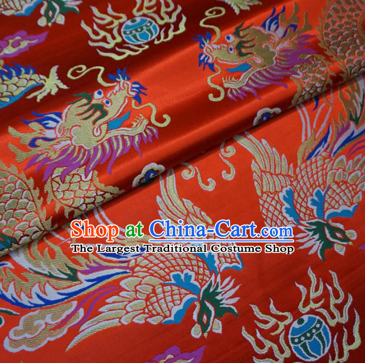 Asian Chinese Traditional Cheongsam Satin Fabric Classical Dragon Phoenix Pattern Red Brocade Tang Suit Silk Material