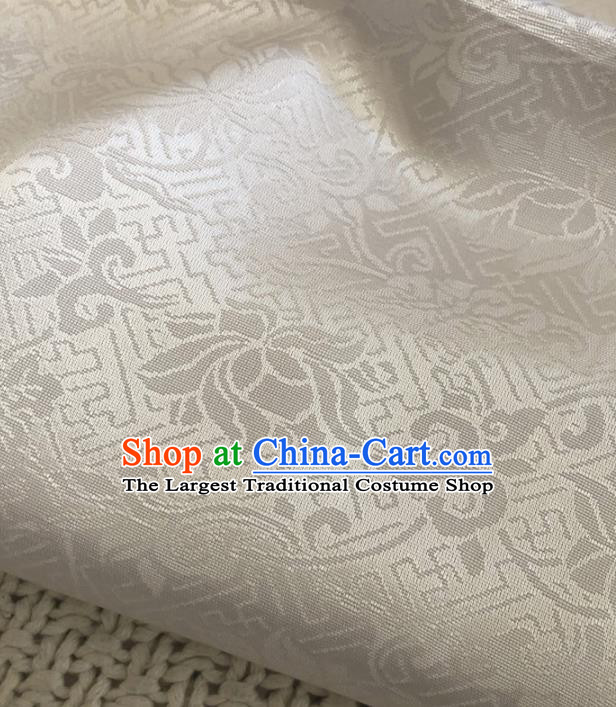 Asian Chinese Classical Scroll Lotus Design Pattern White Brocade Traditional Cheongsam Satin Fabric Tang Suit Silk Material