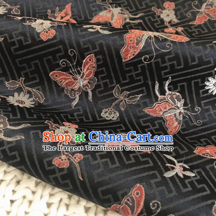 Asian Chinese Classical Butterfly Design Pattern Black Brocade Traditional Cheongsam Satin Fabric Tang Suit Silk Material