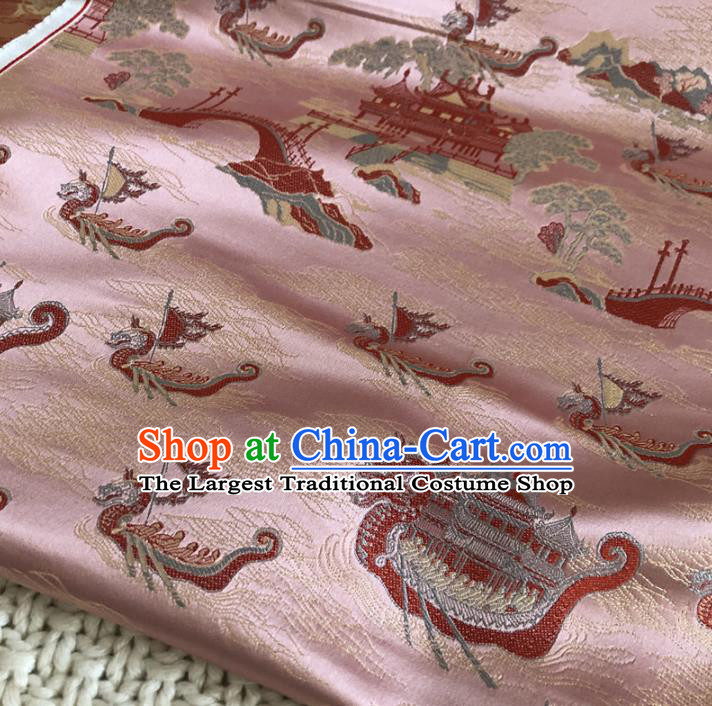 Asian Chinese Classical Dragon Boat Design Pattern Pink Brocade Traditional Cheongsam Satin Fabric Tang Suit Silk Material
