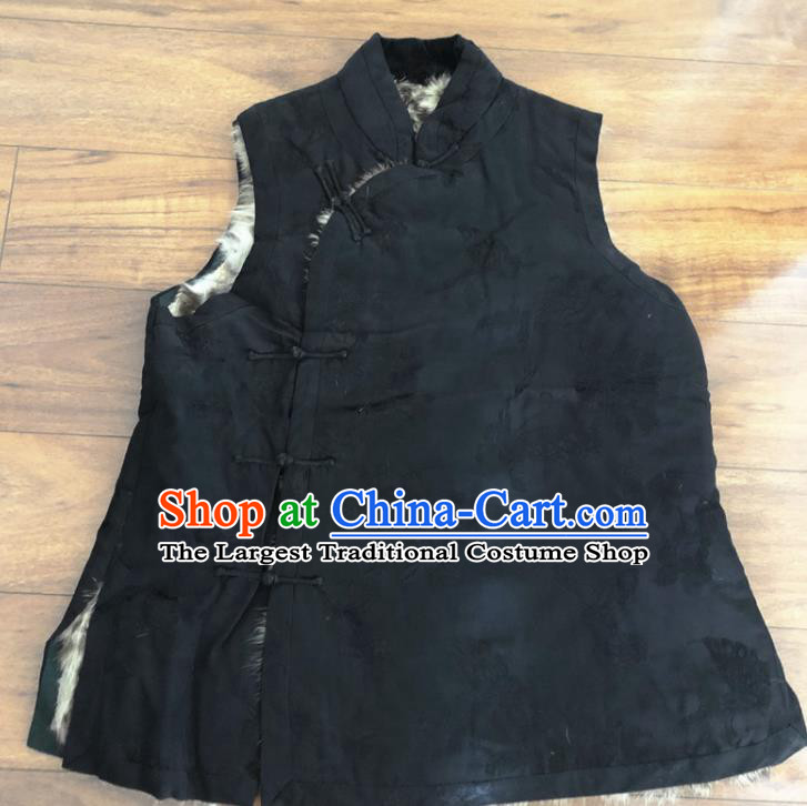 Chinese Traditional Costume Waistcoat National Black Woolen Vest for Women
