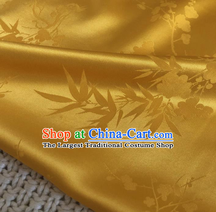 Asian Chinese Classical Plum Blossom Bamboo Design Pattern Yellow Brocade Traditional Cheongsam Satin Fabric Tang Suit Silk Material
