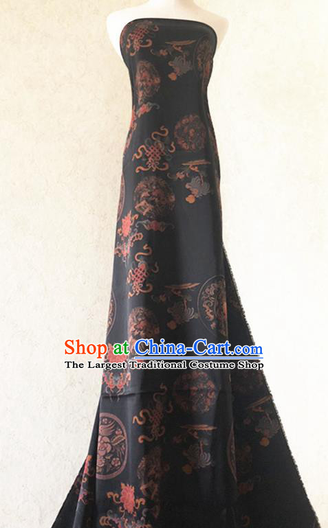 Asian Chinese Classical Design Pattern Black Watered Gauze Traditional Cheongsam Satin Fabric Tang Suit Silk Material