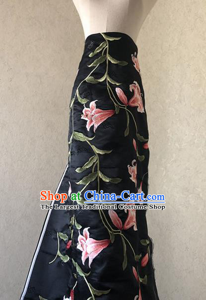 Asian Chinese Classical Lily Flowers Design Pattern Black Brocade Traditional Cheongsam Satin Fabric Tang Suit Silk Material
