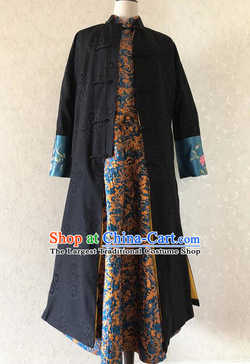 Chinese Traditional Embroidered Costume National Black Cotton Padded Coat Tang Suit Long Robe for Women