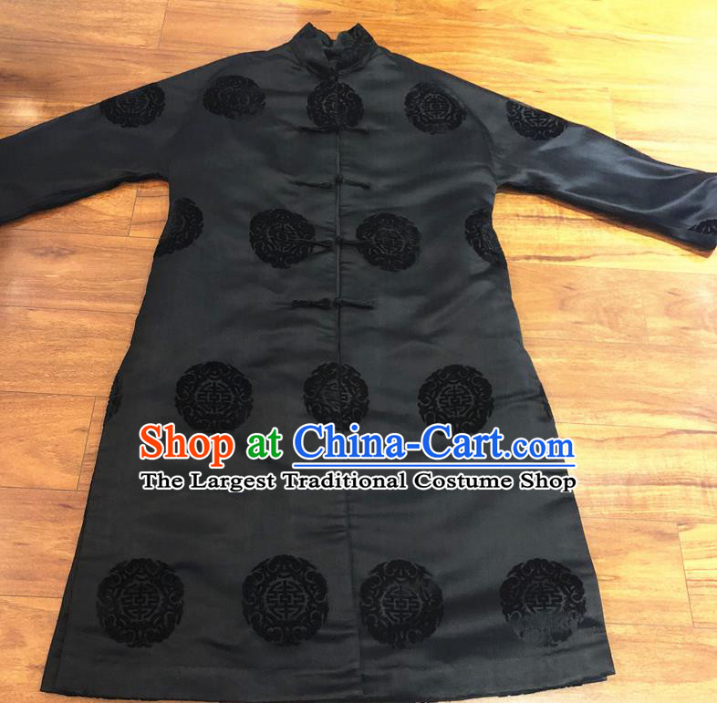 Chinese Traditional Costume National Black Cotton Padded Coat Tang Suit Long Robe for Women
