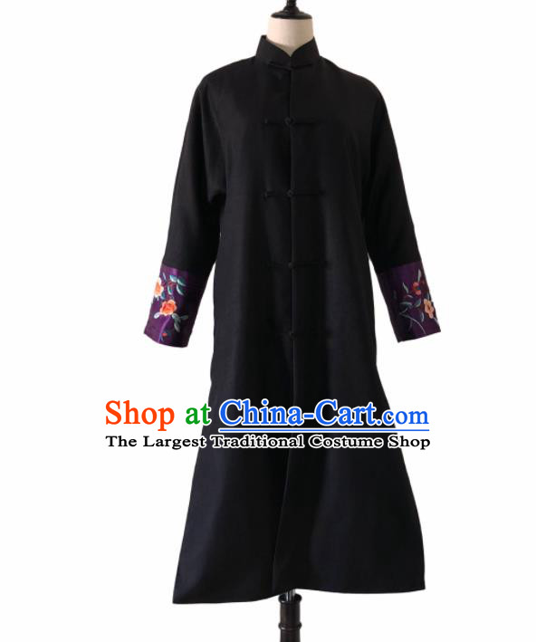 Chinese Traditional Embroidered Black Cotton Padded Coat National Costume Tang Suit Long Robe for Women
