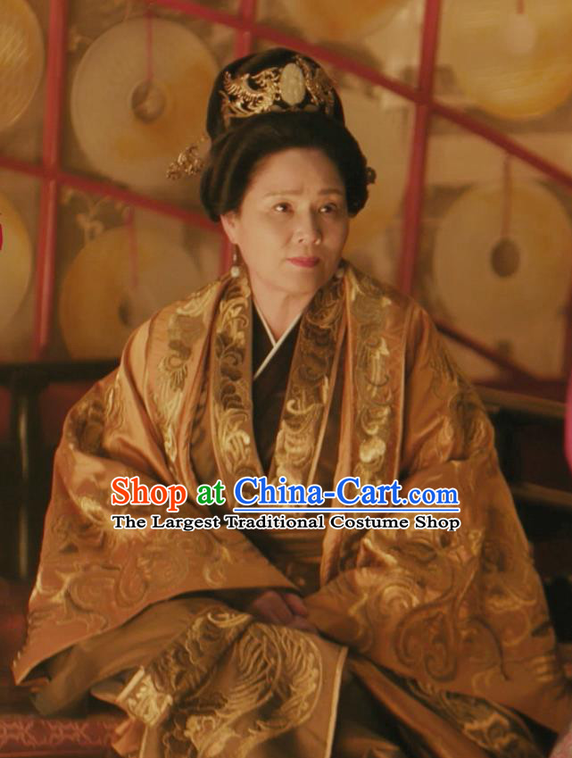 Drama The Story Of MingLan Chinese Ancient Song Dynasty Queen Dowager Embroidered Historical Costume and Headpiece Complete Set