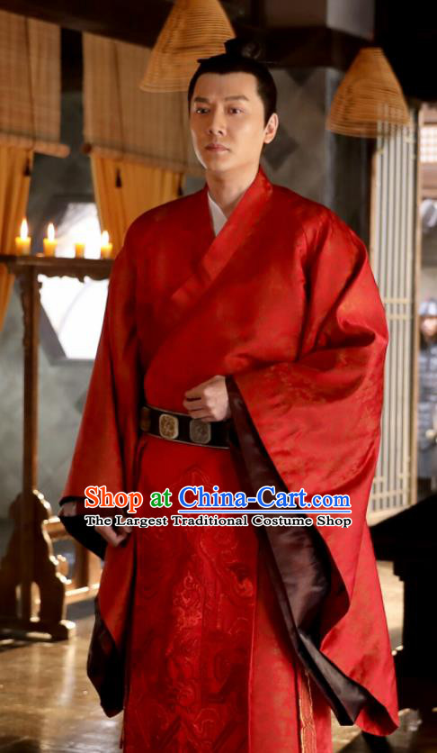 Chinese Drama The Story Of MingLan Ancient Red Robe Song Dynasty Military Officer Embroidered Costume for Men